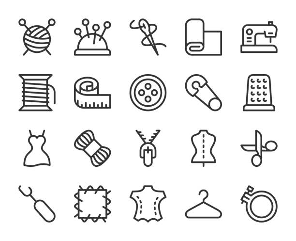 Sewing and Needlework - Line Icons Sewing and Needlework Line Icons Vector EPS File. fashion stock illustrations