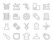 Sewing and Needlework Thin Line Icons Vector EPS File.