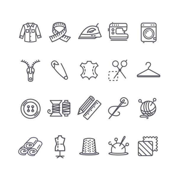 nähen und handarbeiten-tool-schwarze dünne linie-icon-set. vektor - lederverarbeitung stock-grafiken, -clipart, -cartoons und -symbole
