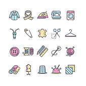 Sewing and Needlework Tool Color Thin Line Icon Set Include of Measure Equipment, Mannequin and Zip. Vector illustration