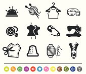 A set of 12 professional sewing & tailor icons.