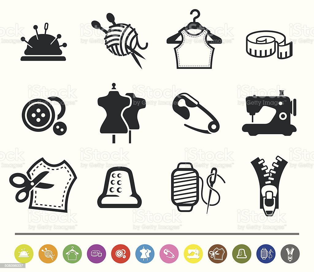 Sewing and tailor icons | siprocon collection vector art illustration