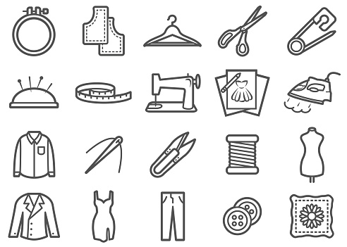 Sewing and Tailor Made Line Icons Set