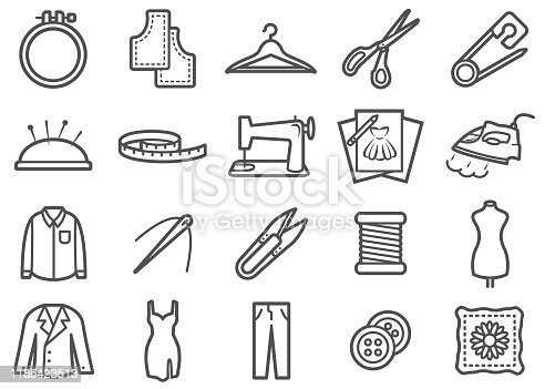There is a set of icons about sewing/tailor made industry and related tools in the style of Clip art.