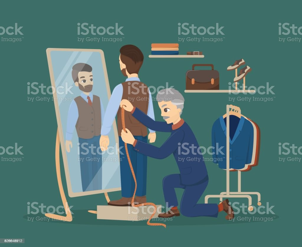 Sewing at atelier. vector art illustration