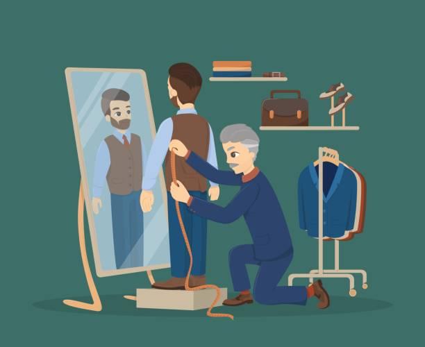illustrazioni stock, clip art, cartoni animati e icone di tendenza di sewing at atelier. - tailor working
