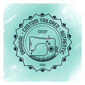 Vector tailor badge design over watercolor background.