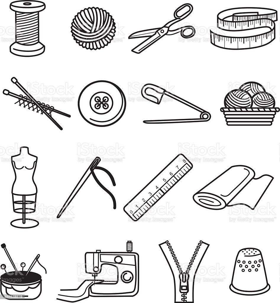 Sewing black icon set vector art illustration