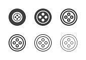 Sewing Button Icons Multi Series Vector EPS File.