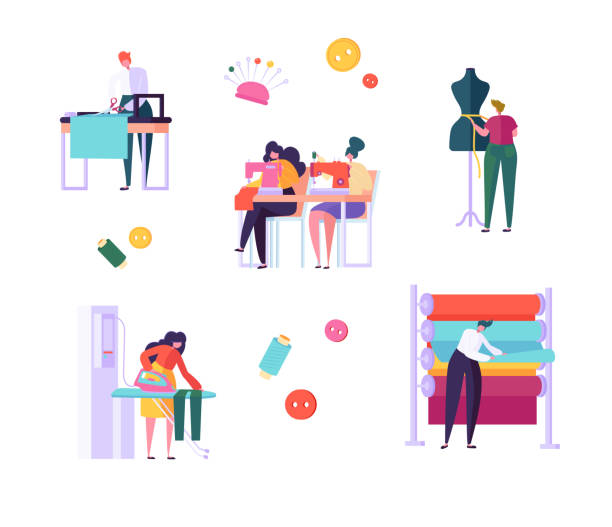 illustrazioni stock, clip art, cartoni animati e icone di tendenza di sewing clothes character people set. woman work at dressmaker knitting machine, ironing fabric in creative atelier. tailor textile craft business isolated collection flat vector cartoon illustration - tailor working