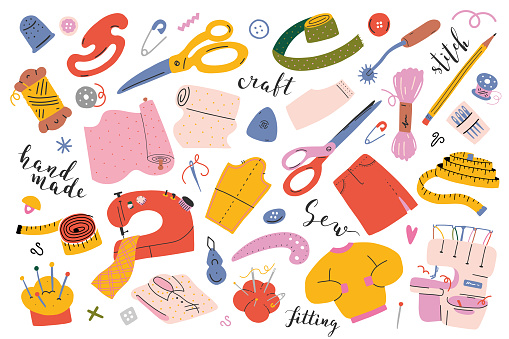 Sewing collection. Vector illustrations of sewing tools, equipment and accessories. Modern flat cartoon style, hand drawn isolated drawings, sewing machine, overlocker, scissors
