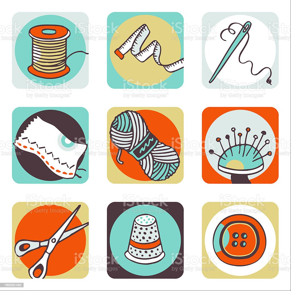 Sewing color icons royalty-free stock vector art