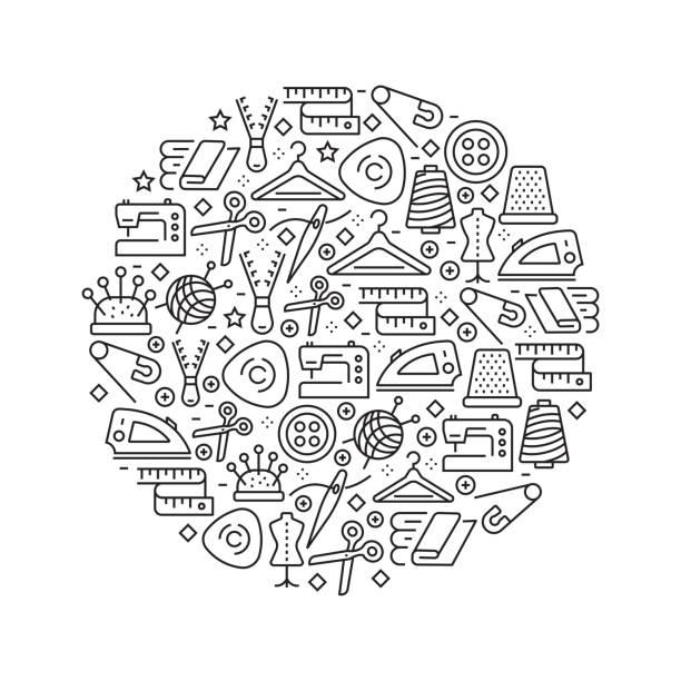 illustrazioni stock, clip art, cartoni animati e icone di tendenza di sewing concept - black and white line icons, arranged in circle - tailor working
