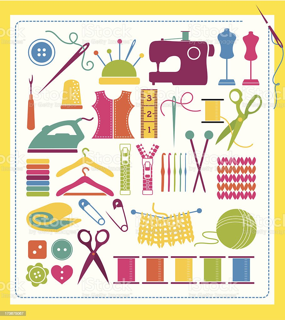 Sewing Design Elements vector art illustration