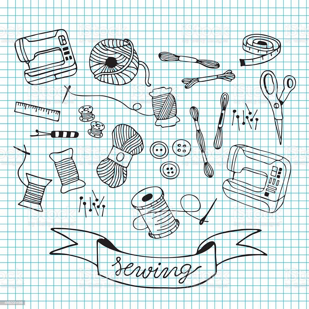 sewing doodle illustration on blue grid vector art illustration