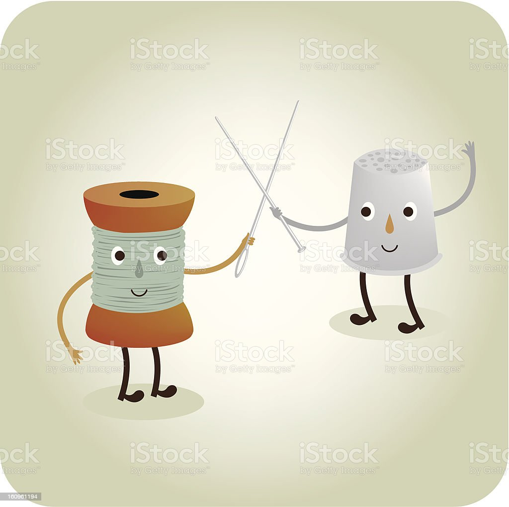 Sewing duel, spool and thimble royalty-free stock vector art