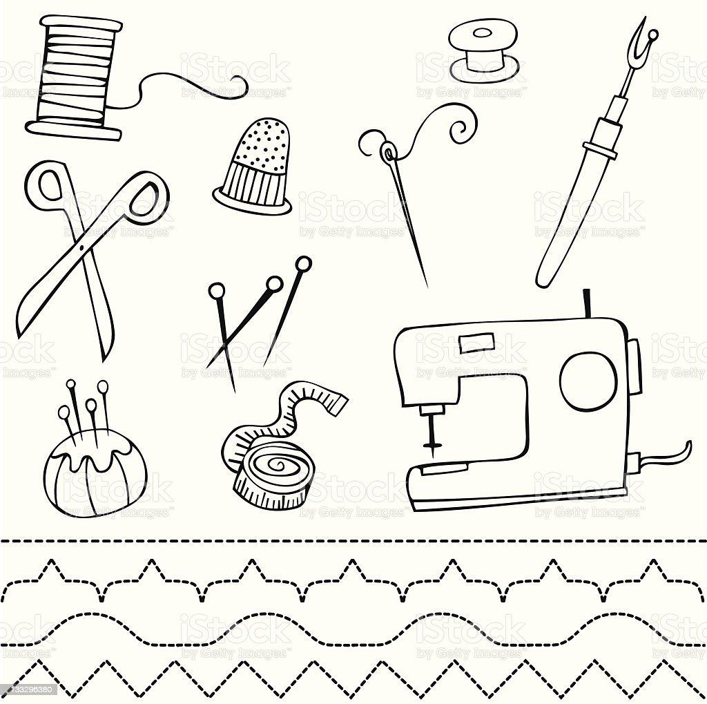 Sewing elements vector art illustration