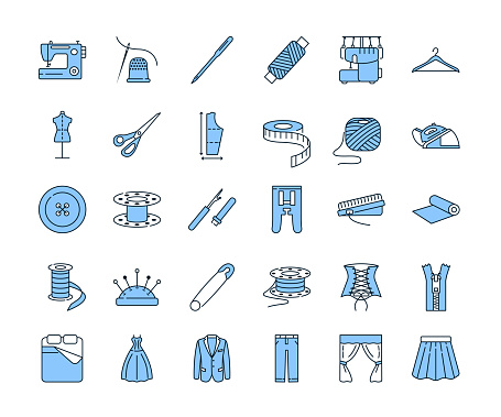 Sewing equipment and needlework line icon set blue color. Equipment for a sewing studio. Custom clothing. Editable strokes