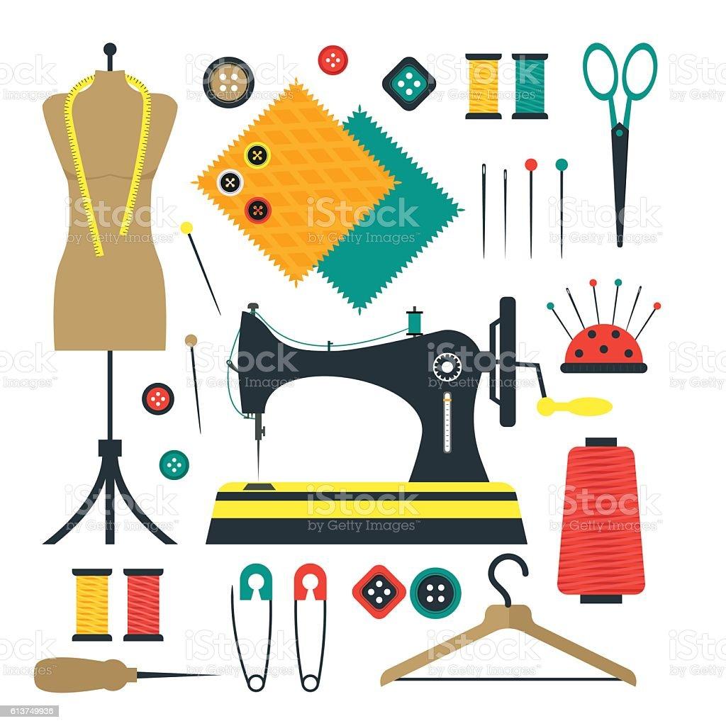 Sewing Equipment and Tools Set. Vector vector art illustration
