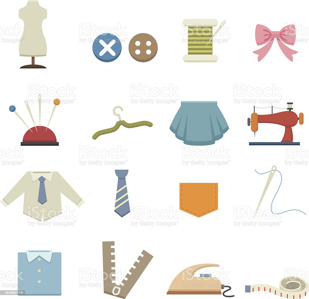 Sewing equipment icons vector art illustration