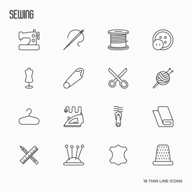 dünne linie symbole unterhaltungsausstattung nähen: nähmaschine, nadel, faden, eisen. vektor-illustration. - lederverarbeitung stock-grafiken, -clipart, -cartoons und -symbole