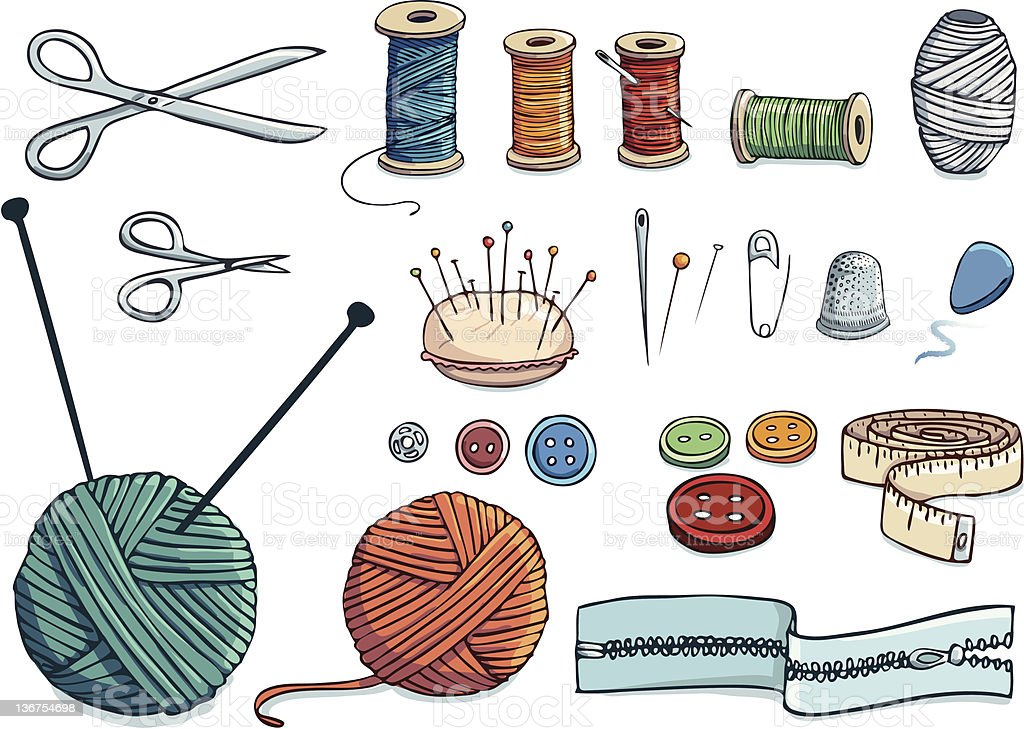 Sewing hand-drawn icon set vector art illustration