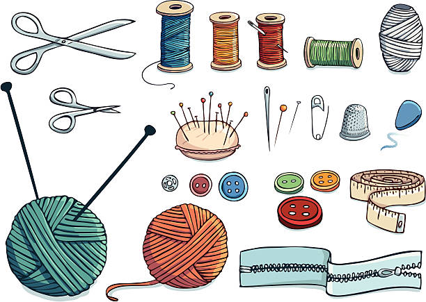 Nähen hand-drawn icon set – Vektorgrafik