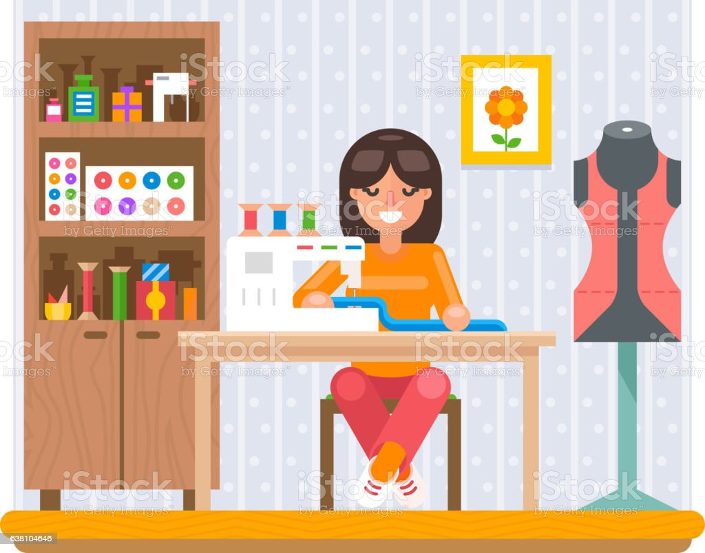Sewing Hobby Work at Home Craft Flat Design Vector Illustration - Illustration vectorielle