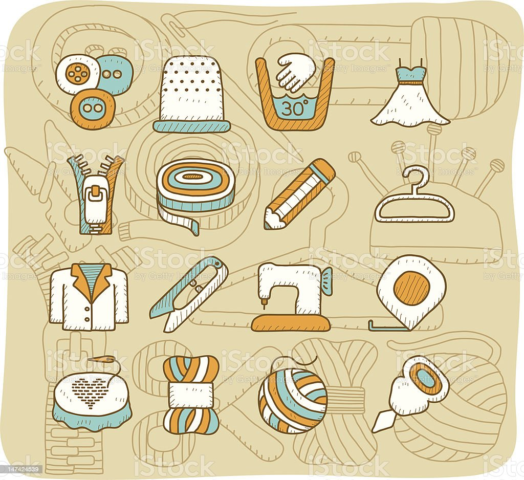 Sewing icon set royalty-free stock vector art
