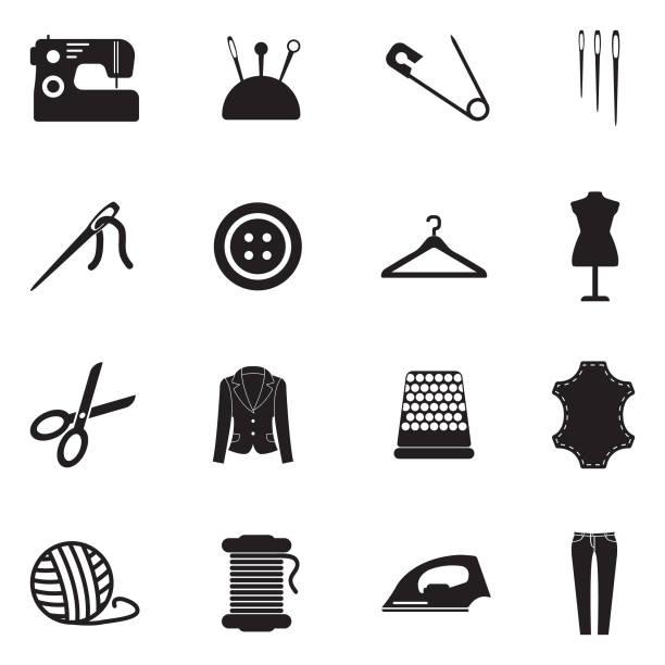 illustrazioni stock, clip art, cartoni animati e icone di tendenza di sewing icons. black flat design. vector illustration. - tailor working