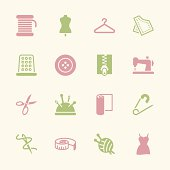 Sewing Icons Color Series Vector EPS10 File.