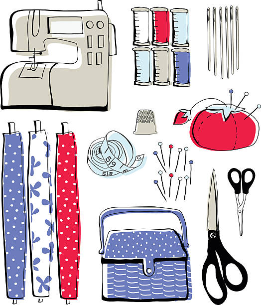 Sewing icons in red and blue vector art illustration