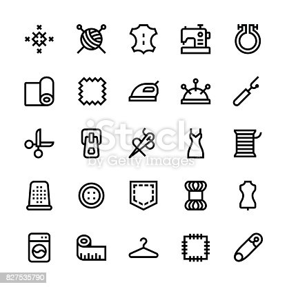 Sewing icons - Medium Line Vector EPS File.