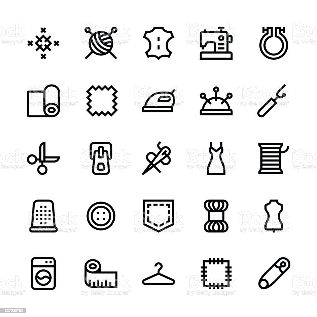 Sewing icons - Medium Line vector art illustration