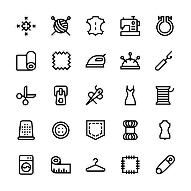 nähen-symbole - medium line - lederverarbeitung stock-grafiken, -clipart, -cartoons und -symbole