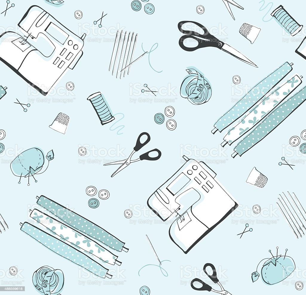 Sewing icons seamless pattern vector art illustration