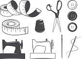 Set of vintage sewing tools