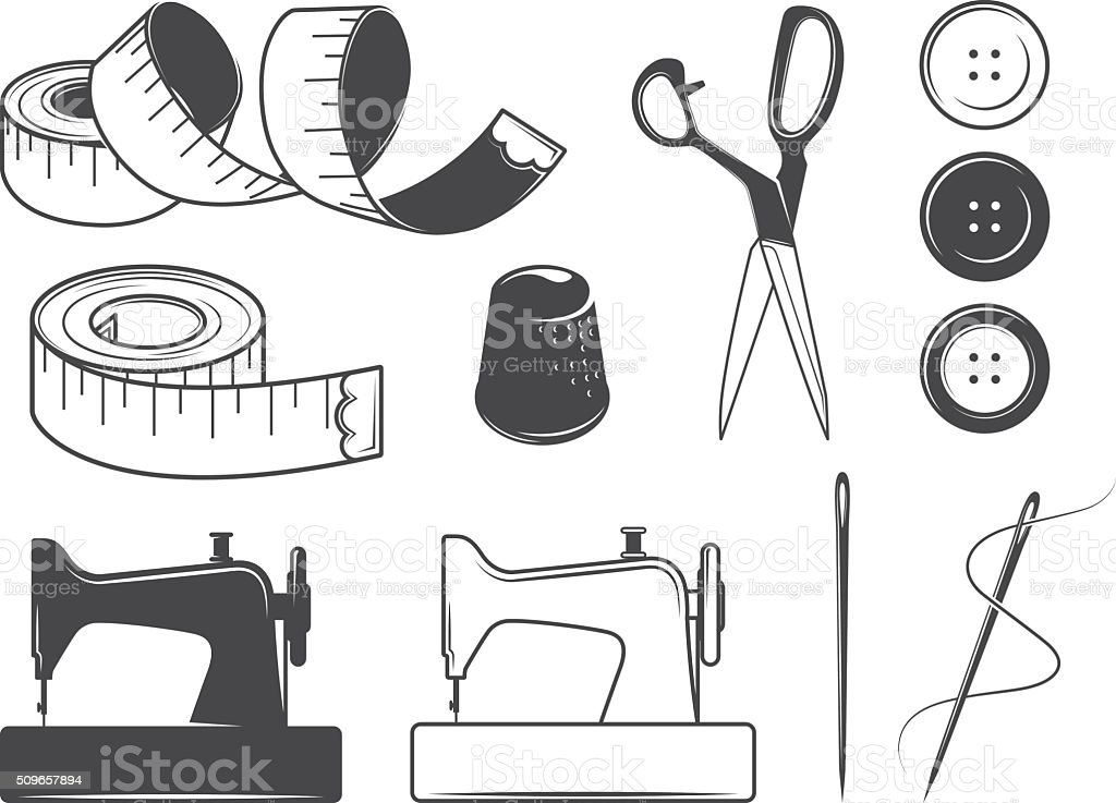 Sewing icons vector art illustration
