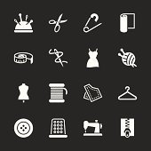 Sewing Icons White Series Vector EPS10 File.