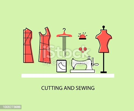 Sewing Illustration Set Mannequin Sewing Machine Notebook Patterns