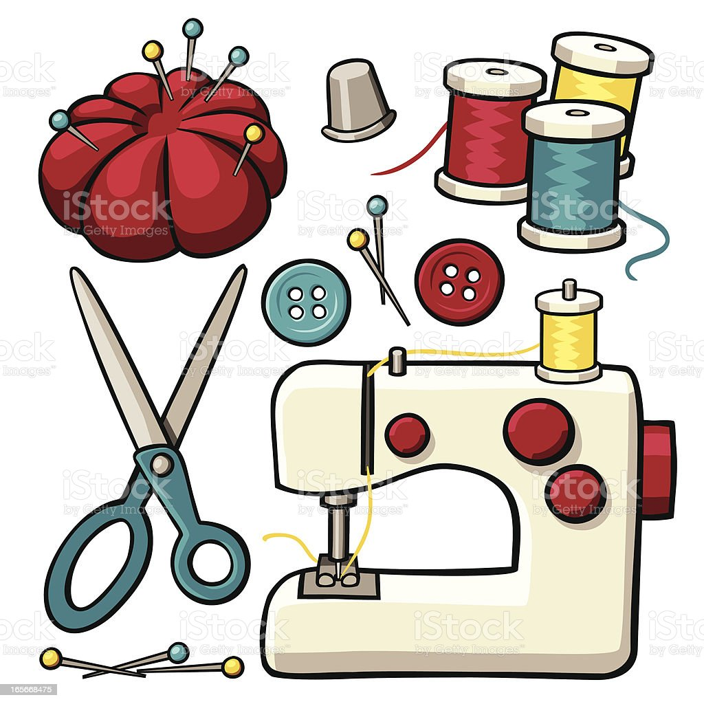 sewing items stock vector art more images of art and craft rh istockphoto com free clipart sewing needle and thread free clipart sewing needle