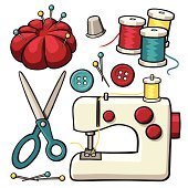 A variety of cartoon sewing design elements: a sewing machine, buttons, pins, thread, a pin cushion, and scissors.