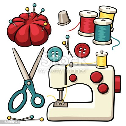 Sewing Items Stock Vector Art Amp More Images Of Art And