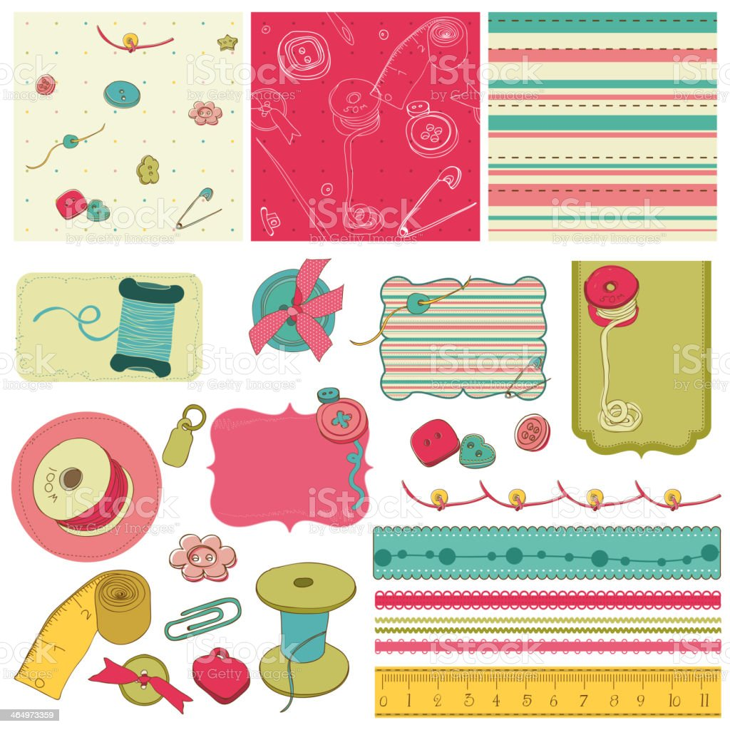 Sewing kit - design elements for scrapbooking royalty-free stock vector art