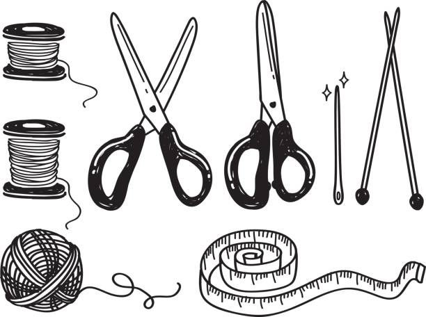 illustrazioni stock, clip art, cartoni animati e icone di tendenza di sewing kit doodle - tailor working