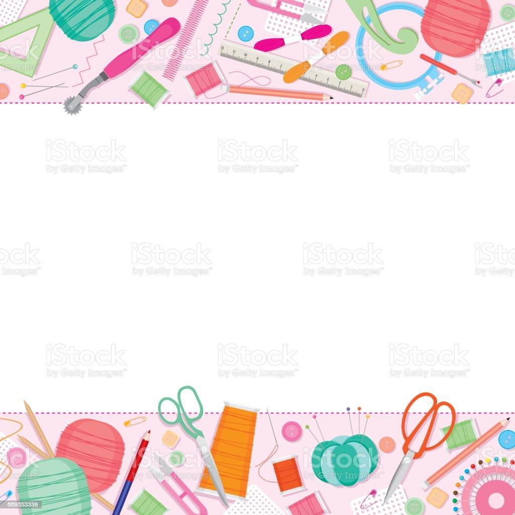 Sewing Kit Rahmen Vektor Illustration 669353338 | iStock