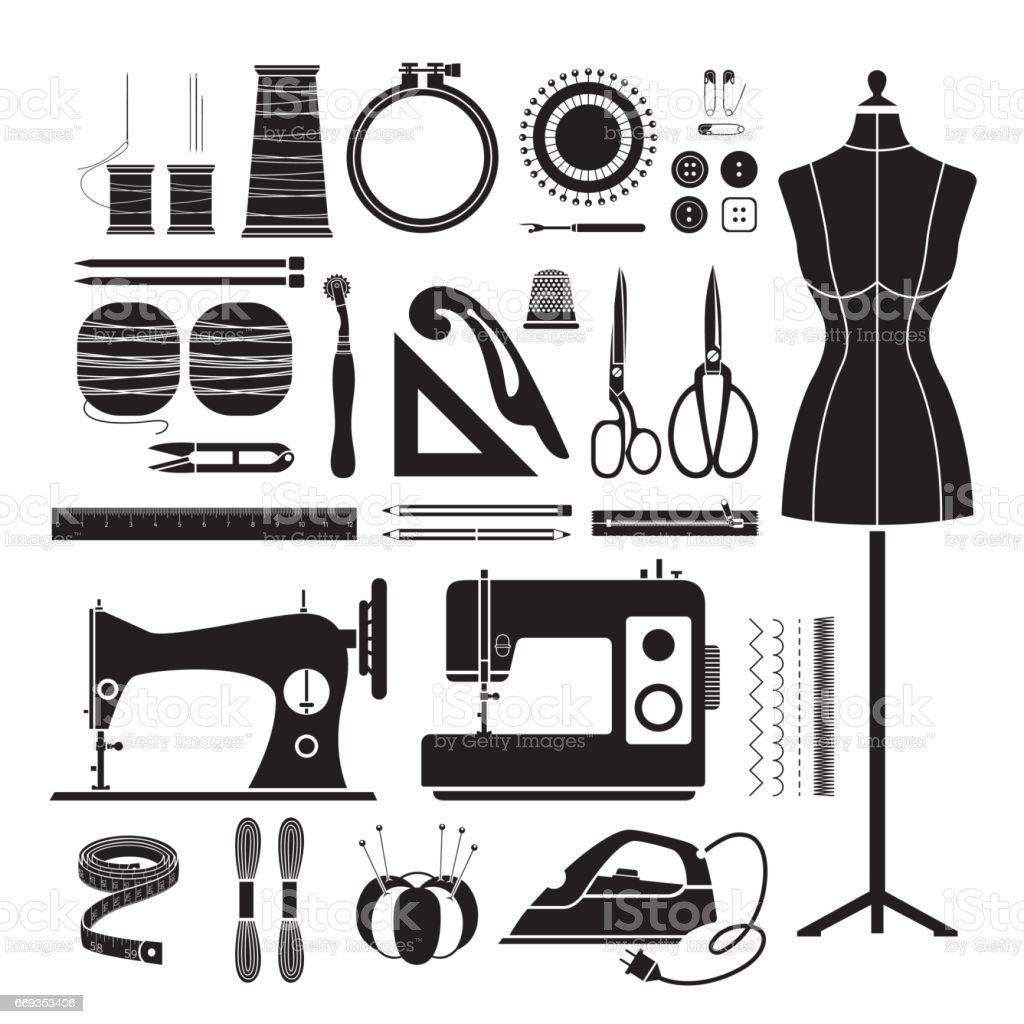 Sewing Kits Icons Set, Monochrome vector art illustration