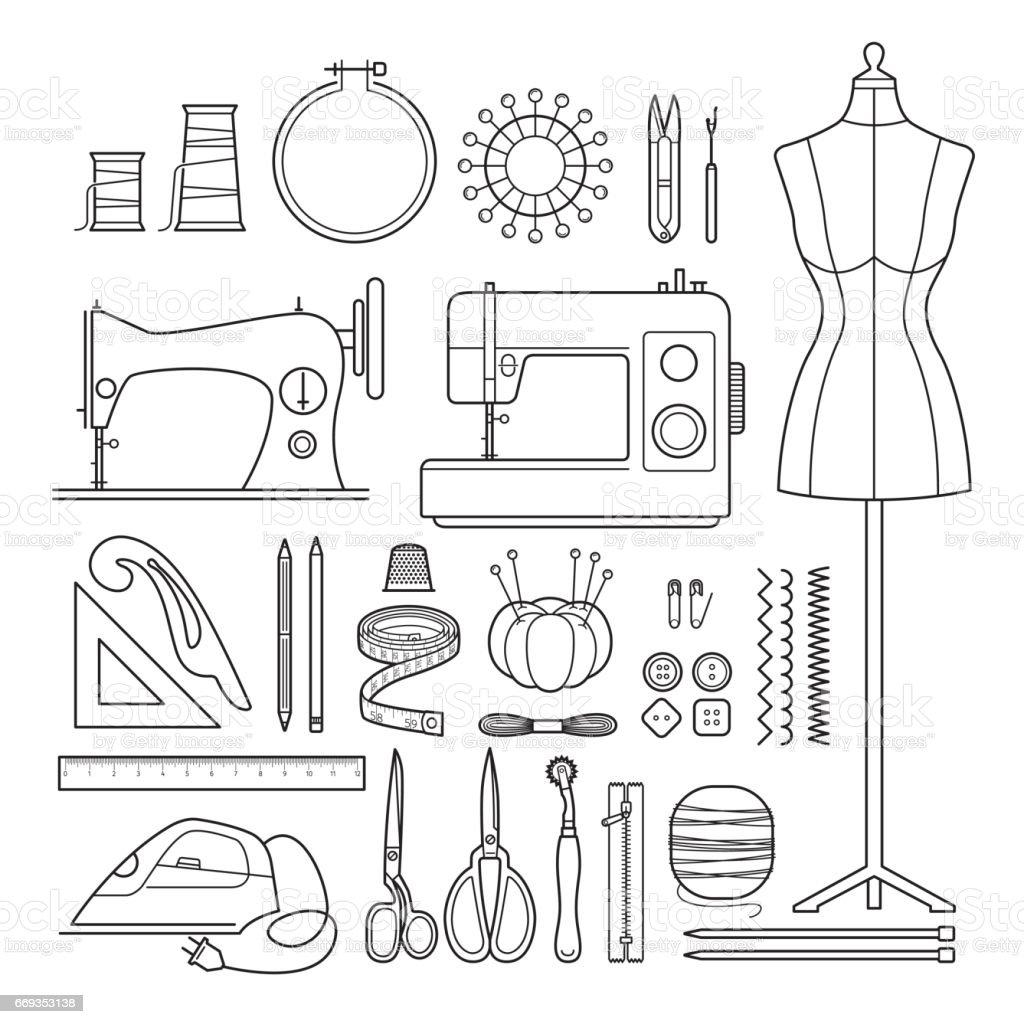Nähzeug Skizzieren Icons Set Stock Vektor Art und mehr Bilder von ...