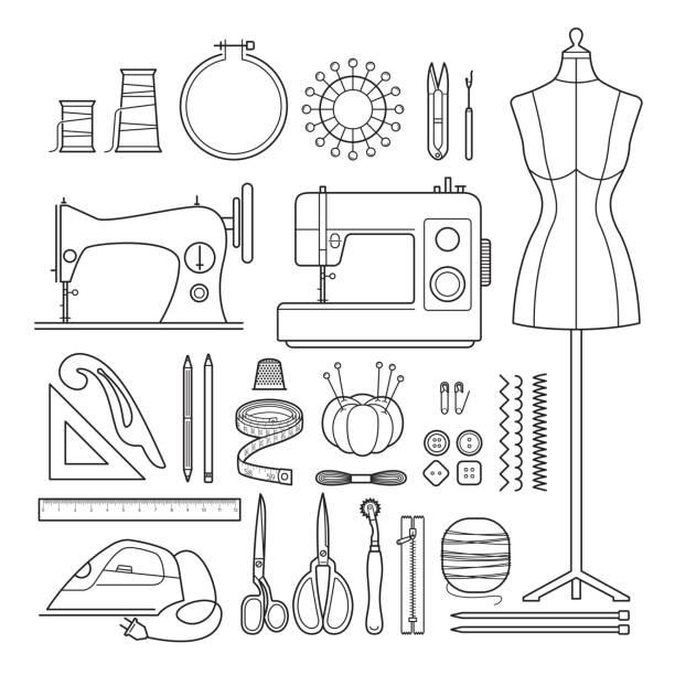 illustrazioni stock, clip art, cartoni animati e icone di tendenza di sewing kits outline icons set - tailor working