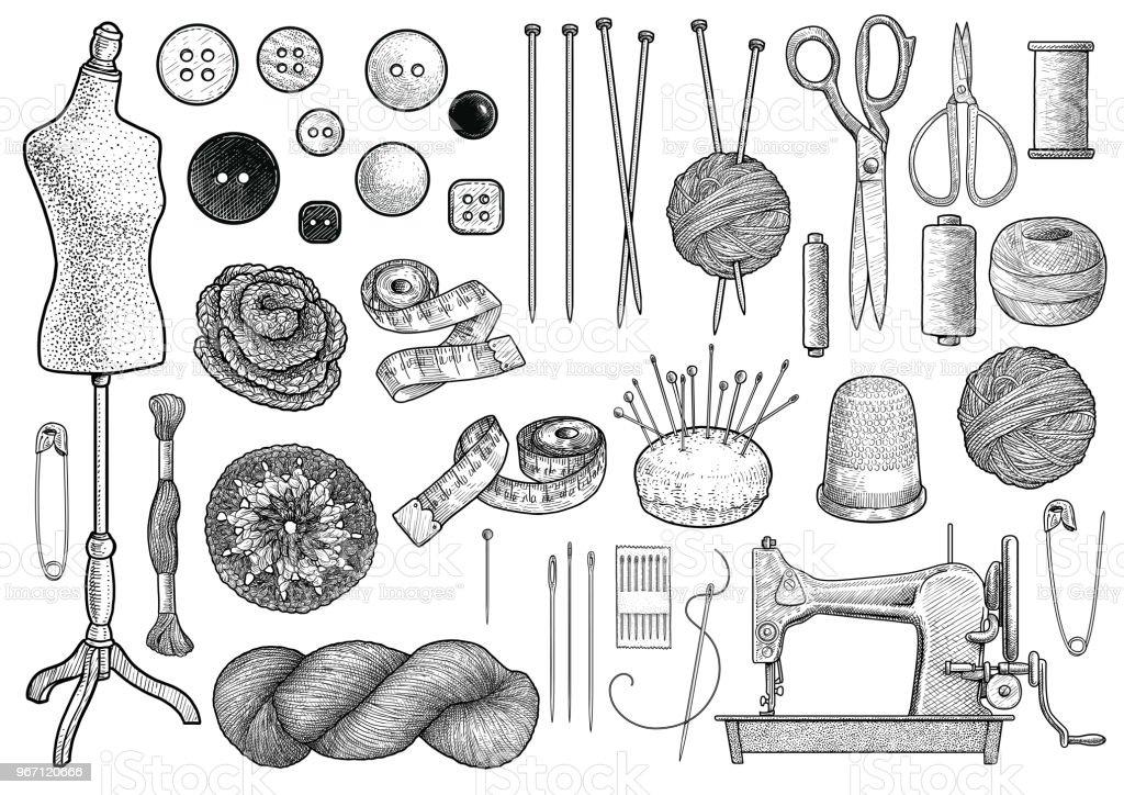 Coser, tejer equipo colección Ilustración, dibujo, grabado, tinta, arte lineal, vector - ilustración de arte vectorial